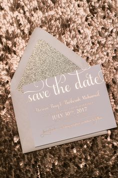 Rose Gold Glitter - Foil Stamping - Save the Date Invitation  *Cost is for one Sample Only, as shown in the photos above. Custom request samples are not available*  PRICE DOES NOT REFLECT A PER PIECE PRICE FOR A FULL ORDER. ______________________  FULL PRICING, MORE PRODUCTS AND VERSIONS ARE AVAILABLE ON OUR WEBSITE. ______________________  HAVE QUESTIONS? LiveChat with us right on our website or feel free to email us! We would be happy to answer any and all of your questions.  Thanks for…