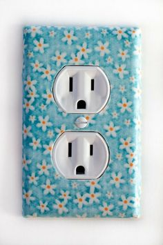 White Flower On Blue Background Outlet Plate by PopGoesTheColor