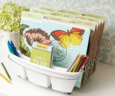 Repurpose an ordinary dish drainer to organize files/patterns/cookbooks and office supplies