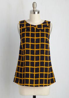 To the Nines Top in Navy Grid. When you have to wear a spiffy ensemble but dont want to don a dress, choose this checkered top! #blue #modcloth