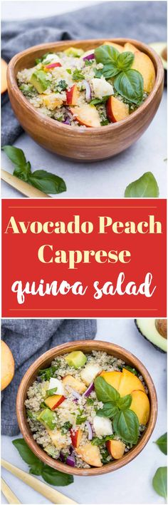Change things up with this simple Avocado Peach Caprese Quinoa Salad--this one is a recipe for a crowd that will make everyone happy. No one needs to know how easy it was to make this recipe! #peaches #summersalad #peachsalad #capresesalad