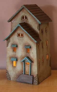 Clay House #15 | Harry Tanner Design ceramic night light lamp or garden sculpture