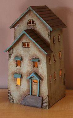 Harry Tanner Design ceramic night light lamp or fairy house for the garden Clay Houses, Putz Houses, Ceramic Houses, Miniature Houses, Fairy Houses, Wood Houses, Paper Houses, Ceramic Clay, Pottery Houses