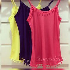 Olha essas lindezas que acabaram de chegar!!! Qual a sua favorita?! Eu quero todas. ❤️  ✅P,M,G;  ✅54,90 por 43,00 à vista.  ▶️WWW.PARADISELOJAVIRTUAL.COM🛍  ➡️📲wpp 96 98124-7295    #paradise#paradisecollection#promocao#sale#luxo#vem#temqueter #paradise #paradisecollection#instafashion #instalike#dress #look #lookdodia #ootd #ootn #fashion #moda #trend #tendencia#loja#reveillon#melhorpreco#news#site#instalike#verão2017#sale#regatinha#pompom