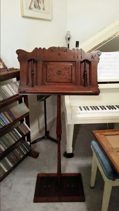 A music stand made from the music holder of a pump organ and the legs off a piano bench. Music Furniture, Diy Furniture, Furniture Design, Repurposed Furniture, Vintage Furniture, Painted Furniture, Piano Bench, Piano Desk, Piano Crafts