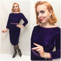 Vintage 50s 60s Purple Velvet Dress // 1950s 1960s vintage purple velvet and satin wiggle dress // Satin trim and belt