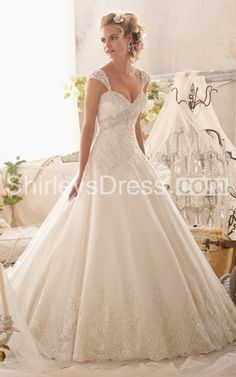 Exquisite Long Wedding Dress With Detachable Cap Sleeves