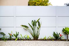 A wide variety of slats, infills, lighting and accessories are available with a SlimWall™ fence. Learn more about how customisable the fence design can be. Architectural Plants, Architectural Features, Fence Design, Garden Design, Stone Wall Design, Compound Wall, Boundary Walls, Modular Walls, Landscape Design