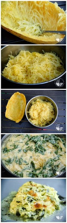 Baked Spaghetti Squash w/Cheddar Cheese & Spinach. This recipe was the first I used to learn how to prepare spaghetti squash. This nutritious substitute for pasta is healthy and delicious. I highly recommend this recipe. Think Food, I Love Food, Food For Thought, Vegetable Recipes, Vegetarian Recipes, Cooking Recipes, Healthy Recipes, Clean Recipes, Keto Recipes