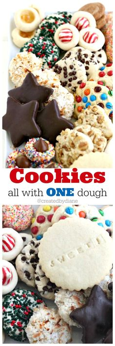 Cookies all with ONE dough from /createdbydiane/ this is THE recipe you need to make perfectly delicious cookies easily.