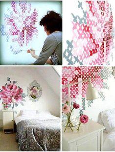 DIY: Cross-stitch on wall! Diy Love, Diy Home Decor, Room Decor, Diy Wand, Wall Patterns, Stitch Patterns, Crochet Stitches Patterns, Decoration, Home Projects