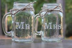 Etsy listing at https://www.etsy.com/listing/119367306/2-mason-jars-mugs-wedding-party-mr-mrs-2