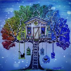 Johanna Basford - Secret Garden - tree house with swing & bird cages