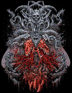 Dark Artwork, Dark Art Drawings, Metal Artwork, Heavy Metal Art, Satanic Art, Acid Art, Horror Artwork, Arte Obscura, Skeleton Art