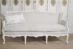 Antique Linen Carved French Sofa by FullBloomCottage on Etsy