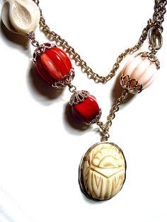 Scarab drop necklace