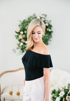 528f784c20 Off-the-shoulder black top  Photography  Carly Michelle - http