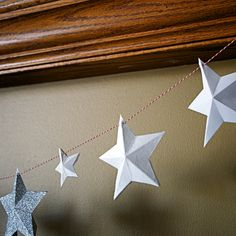 #DIY Paper Star Garland (using for Fourth of July display)