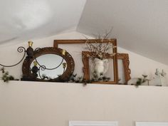 Romantic ledge decor using reclaimed objects