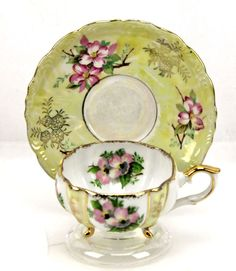 Vintage Napco Handpainted Dogwood Yellow Pink 3 Footed Teacup & Saucer Japan #Napco #weboys10