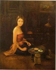 Traditional Paintings, Traditional Art, Thailand National Costume, Temple Thailand, Thai Pattern, Cute Cartoon Girl, Thai Traditional Dress, Thai Art, Great Paintings