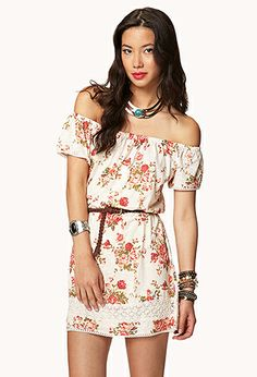 Rose Print Dress w/ Faux Leather Belt | FOREVER21 - 2050855220