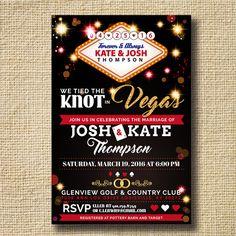 Destination Wedding Invitation Post Destination Wedding Reception Invitation  Tied The Knot In Vegas Wedding Invite