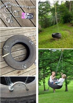 Tire swing.. Change the ropes out for the new soft chains or cushioned chains for more comfort.