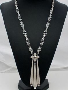 "Signed Crown Trifari Fabulous Fringe Pendant Estate Silver 24"" Necklace Vintage | eBay"