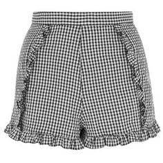 Summer Vintage Plaid Shorts with Ruffles Trim Invisible Zipper Junior Girls Fashion Retro Gingham Bottoms Short Clothes Gingham Shorts, Gingham Dress, Short Outfits, Cute Outfits, Topshop Shorts, Modelos Plus Size, Girl Fashion, Fashion Outfits, Blouse Designs