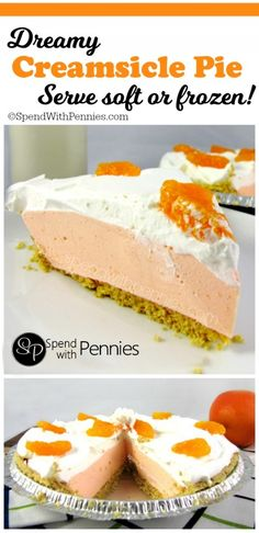 Creamy and delicious this Creamsicle Pie tastes like summer! You won't beli… Creamy and delicious this Creamsicle Pie tastes like summer! You won't believe how easy this is to whip up! This can be served soft and fluffy or frozen for a cool summer treat! Dessert Simple, Easy No Bake Desserts, Frozen Desserts, Frozen Fruit, Cook Desserts, Frozen Yogurt, Pie Dessert, Dessert Recipes, Fruit Dessert