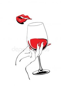 Playful red lips and glass of wine holding hand — Stock Illustration Pencil Art Drawings, Art Sketches, Wine Painting, Wine Art, Beauty Art, Red Lips, Fashion Art, Watercolor Art, Pop Art