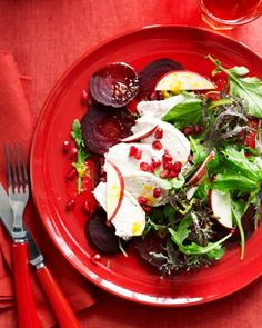 Add some color to a gray day with the brilliant red hues of pomegranates, beets, and apples in this main-course salad.