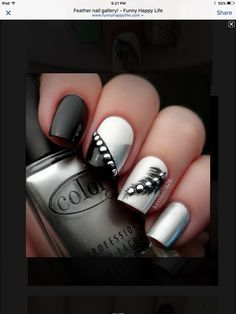 Black and silver feather nails