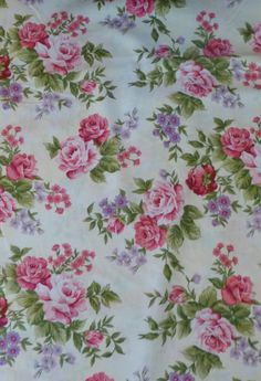 Rose Cottage  Large Roses onWhite by by SuesFabricNSupplies, $10.95