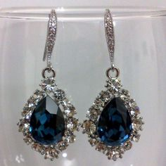 Something Blue Navy Bridal Earrings, Teardrop Jewelry - BIJOUX NAVY | yjdesign - Wedding on ArtFire