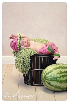 Watermelon Pink With Ribbon Hat And Matching Leg by Babyinthehat, $30.00 Watermelon Patch, Watermelon Baby, Baby Pictures, Baby Photos, Watermelon Photo Shoots, Baby Knitting, Crochet Baby, Crochet Photo Props, Newborn Photos