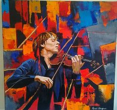 Violinist Violin Painting Oil Painting by art4heart2014 on Etsy