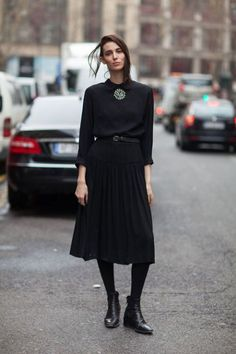 All black outfit / Street style fashion / fashion week week Street Style Chic, Looks Street Style, Autumn Street Style, Looks Style, Look Fashion, Paris Fashion, Fashion Models, Autumn Fashion, Fashion Outfits