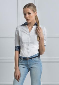 Fitted white dress shirt women.