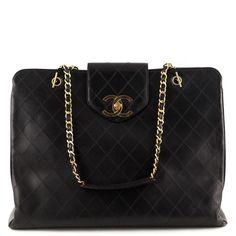 8dea8d9ed7df22 Chanel Black Lambskin Vintage Supermodel Tote - LOVE that BAG - Preowned  Authentic Designer Handbags #