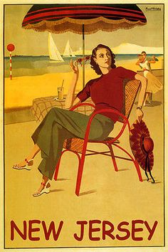 SUMMER TRAVEL NEW JERSEY FASHION LADY BEACH DANCING SAILING VINTAGE POSTER REPRO