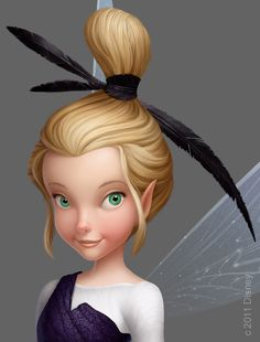 Close-up portrait of Glimmer from 'Pixie Hollow Games.' Painting by Chris-Oatley
