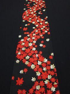 Vintage Japanese Kimono FUKURO OBI Gorgeous Maple Silk