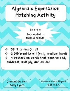 Simply cut out the phrases, and have your students match the algebraic expressions to the correct verbal expressions. They can do this on their desk, or you can have them glue it on construction paper. Algebra Activities, Teaching Math, Maths, Teaching Resources, Translating Algebraic Expressions, Writing Algebraic Expressions, Algebra 1 Textbook, Middle School, High School