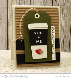 Perk Up, Coffee Cup Die-namics, Horizontal Stitched Strips Die-namics, Stitched Traditional Tag STAX Die-namics, Tag Builder Blueprints 2 Die-namics - Jackie Pedro #mftstamps