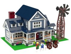 Welcome to my second project from a series of Designer Homes that I've been working on, the Old Farmhouse! This country style home features: Wrap Around Porch Water Well Windmill 3 Chickens (with eggs!) 2 Horses 2 Minifigs Fireplace Kitchen And Mor Lego Modular, Lego Design, Pokemon Lego, Lego Structures, Box Container, Lego Challenge, Lego Activities, Lego Games, Lego Craft
