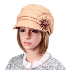 313555036c05d Women Cap Warm Bowler Woolen Beanie Hat Snow Brim Fedora/Trilby Hats Beanie  Hats For