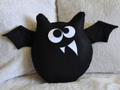 ALL ITEMS ARE MADE TO ORDER PLEASE SEE SHOP FOR CURRENT CREATION TIME!!!This Little Guy is Jugular the Bat Plush Pillow, and hes looking for any willing blood donors! Hes just one of the BedBuggs Collection Pillows. See Shop for more! http://www.bedbuggs.etsy.com/ ~Jugular is 100% Handmade with the Highest Quality Eco-Fi Felt, Looking for Wool felt...just ask! ~Jugulars Wings are flappable for hours of endless fun!  ~He is 12 Tall, 10 Wide and 2 Thick, and has a wing span of approximately…