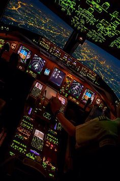 Boeing 777 on approach at night; from the cockpit Boeing 777, Civil Aviation, Commercial Aircraft, Flight Deck, Military Aircraft, Fighter Jets, Pictures, Travel, Airplanes
